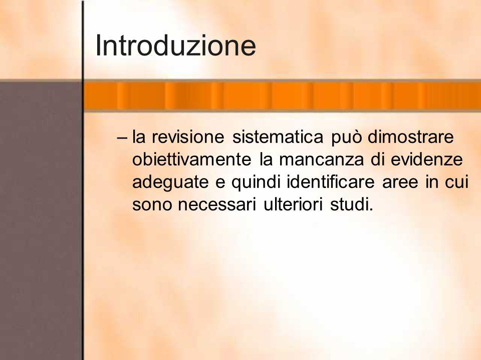 Introduzione –la revisione sistematica può dimostrare obiettivamente la mancanza di evidenze adeguate e quindi identificare aree in cui sono necessari
