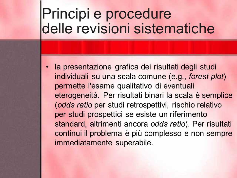 Principi e procedure delle revisioni sistematiche la presentazione grafica dei risultati degli studi individuali su una scala comune (e.g., forest plo