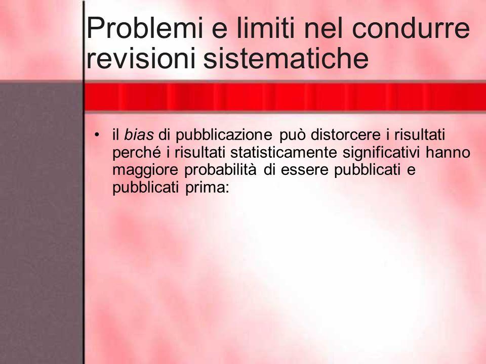 Problemi e limiti nel condurre revisioni sistematiche il bias di pubblicazione può distorcere i risultati perché i risultati statisticamente significa