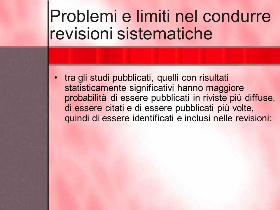 Problemi e limiti nel condurre revisioni sistematiche tra gli studi pubblicati, quelli con risultati statisticamente significativi hanno maggiore prob