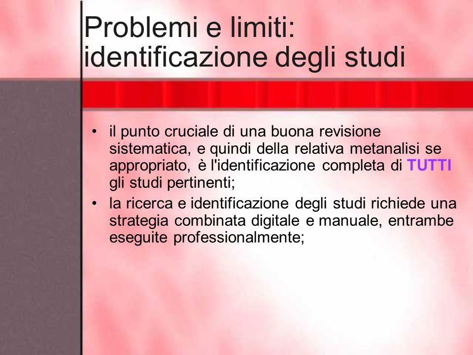 Problemi e limiti: identificazione degli studi il punto cruciale di una buona revisione sistematica, e quindi della relativa metanalisi se appropriato