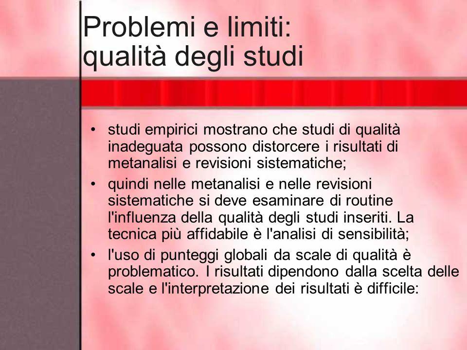 Problemi e limiti: qualità degli studi studi empirici mostrano che studi di qualità inadeguata possono distorcere i risultati di metanalisi e revision