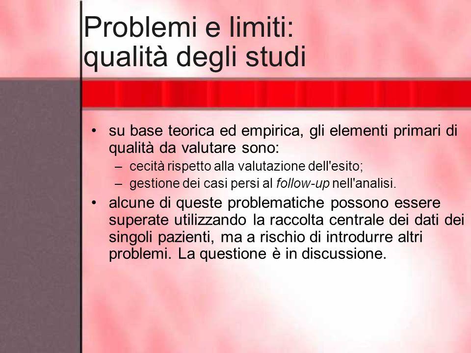 Problemi e limiti: qualità degli studi su base teorica ed empirica, gli elementi primari di qualità da valutare sono: –cecità rispetto alla valutazion