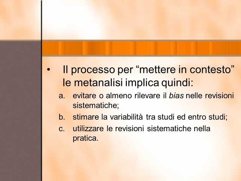 Il processo per mettere in contesto le metanalisi implica quindi: a.evitare o almeno rilevare il bias nelle revisioni sistematiche; b.stimare la varia
