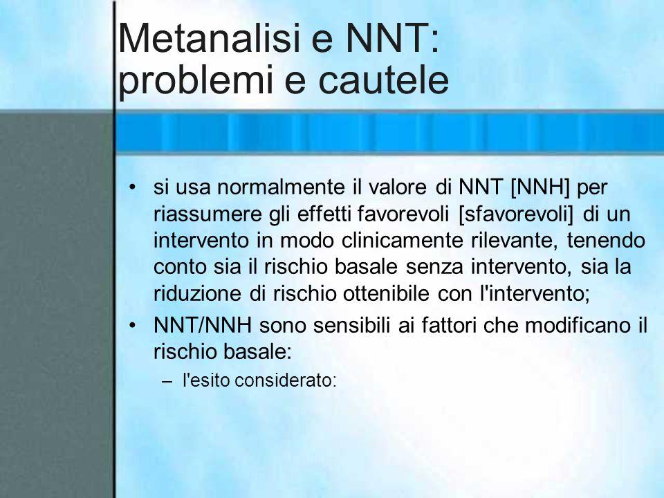 Metanalisi e NNT: problemi e cautele si usa normalmente il valore di NNT [NNH] per riassumere gli effetti favorevoli [sfavorevoli] di un intervento in