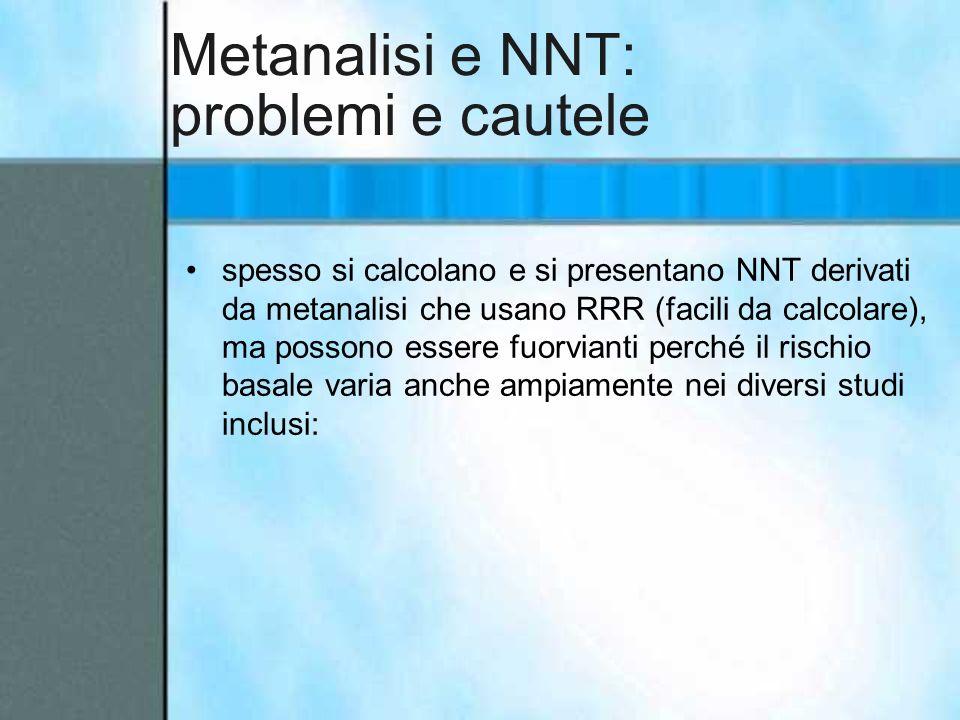 Metanalisi e NNT: problemi e cautele spesso si calcolano e si presentano NNT derivati da metanalisi che usano RRR (facili da calcolare), ma possono es