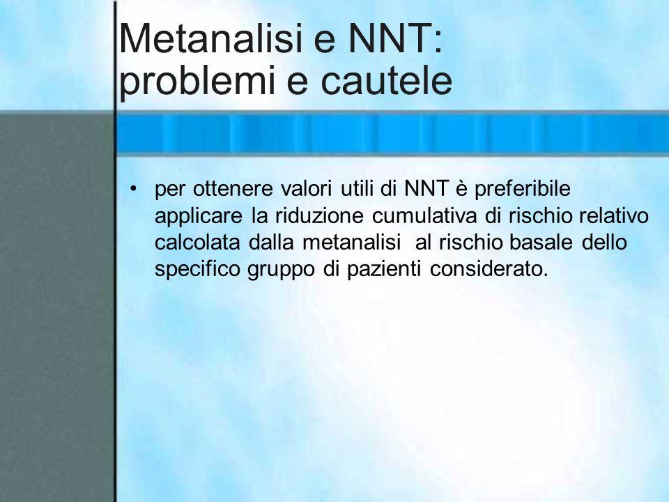 Metanalisi e NNT: problemi e cautele per ottenere valori utili di NNT è preferibile applicare la riduzione cumulativa di rischio relativo calcolata da