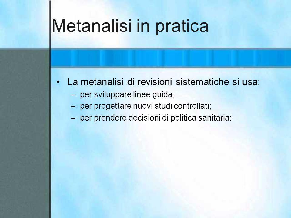 Metanalisi in pratica La metanalisi di revisioni sistematiche si usa: –per sviluppare linee guida; –per progettare nuovi studi controllati; –per prend