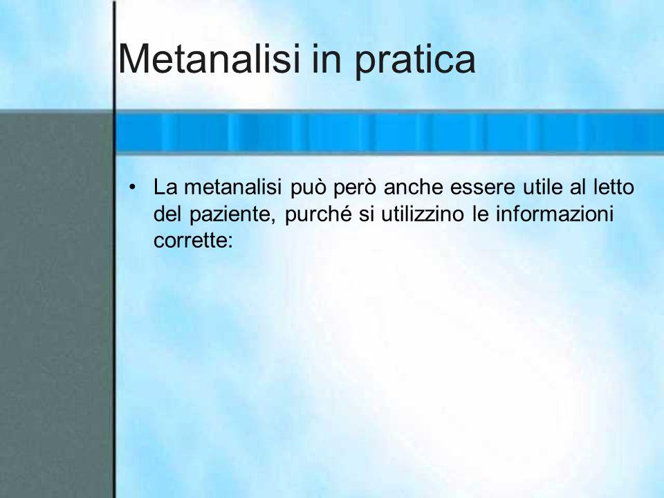 Metanalisi in pratica La metanalisi può però anche essere utile al letto del paziente, purché si utilizzino le informazioni corrette: