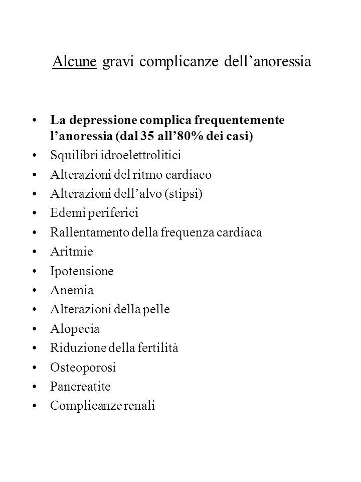 Alcune gravi complicanze dellanoressia La depressione complica frequentemente lanoressia (dal 35 all80% dei casi) Squilibri idroelettrolitici Alterazi