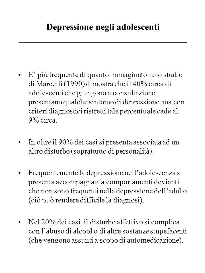 Sintomi caratteristici della depressione adolescenziale _____________________________________ Rallentamento psicomotorio, (sembra il sintomo più sicuro della depressione adolescenziale) con apatia, mutismo, mancanza di volontà.