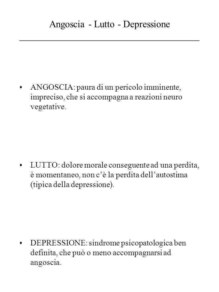 Angoscia - Lutto - Depressione _____________________________________ ANGOSCIA: paura di un pericolo imminente, impreciso, che si accompagna a reazioni