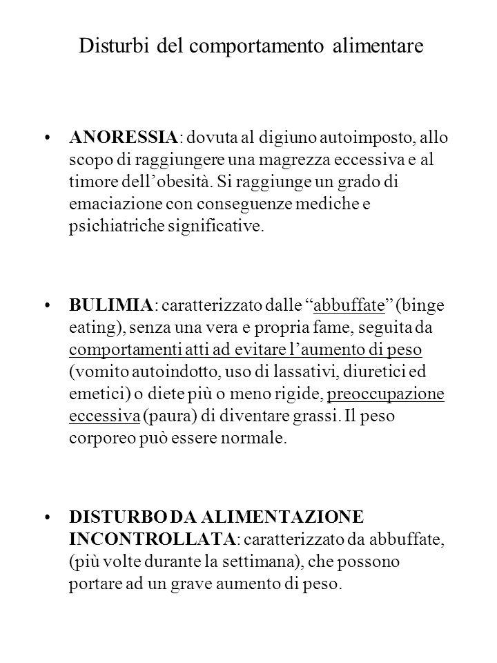Disturbi del comportamento alimentare ANORESSIA: dovuta al digiuno autoimposto, allo scopo di raggiungere una magrezza eccessiva e al timore dellobesi