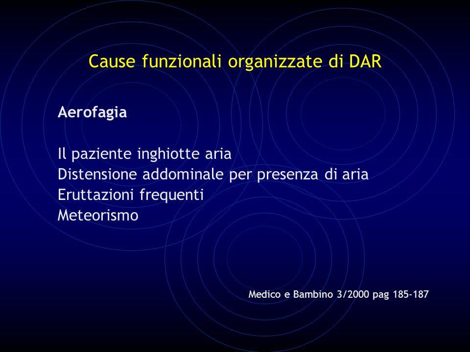 Cause funzionali organizzate di DAR Aerofagia Il paziente inghiotte aria Distensione addominale per presenza di aria Eruttazioni frequenti Meteorismo Medico e Bambino 3/2000 pag 185-187