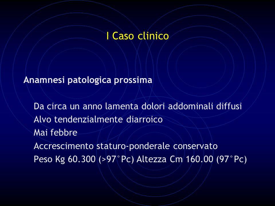 I Caso clinico Anamnesi patologica prossima Da circa un anno lamenta dolori addominali diffusi Alvo tendenzialmente diarroico Mai febbre Accrescimento staturo-ponderale conservato Peso Kg 60.300 (>97°Pc) Altezza Cm 160.00 (97°Pc)