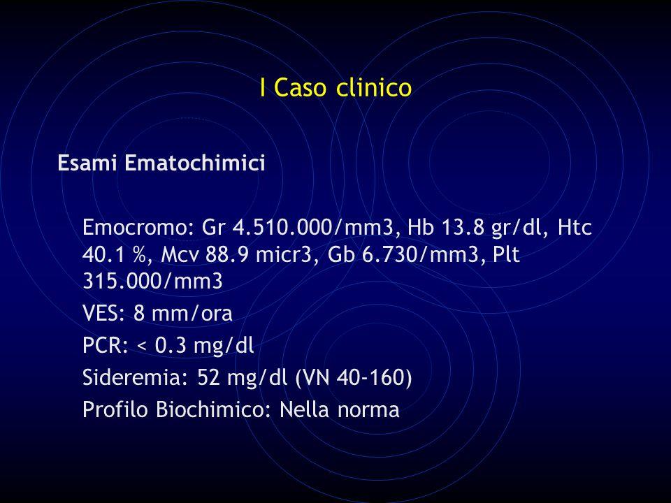 I Caso clinico Esami Ematochimici Emocromo: Gr 4.510.000/mm3, Hb 13.8 gr/dl, Htc 40.1 %, Mcv 88.9 micr3, Gb 6.730/mm3, Plt 315.000/mm3 VES: 8 mm/ora PCR: < 0.3 mg/dl Sideremia: 52 mg/dl (VN 40-160) Profilo Biochimico: Nella norma