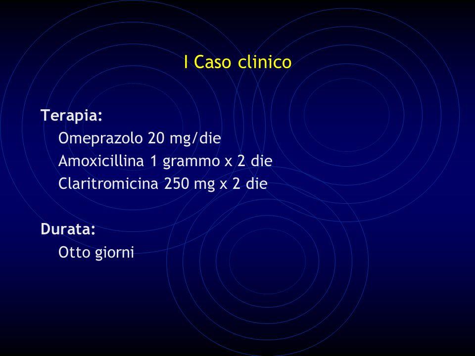 I Caso clinico Terapia: Omeprazolo 20 mg/die Amoxicillina 1 grammo x 2 die Claritromicina 250 mg x 2 die Durata: Otto giorni