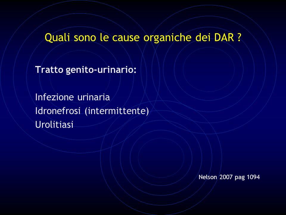 Quali sono le cause organiche dei DAR .