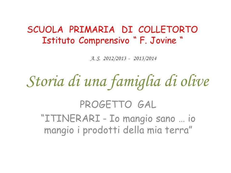 Storia di una famiglia di olive PROGETTO GAL ITINERARI - Io mangio sano … io mangio i prodotti della mia terra SCUOLA PRIMARIA DI COLLETORTO Istituto
