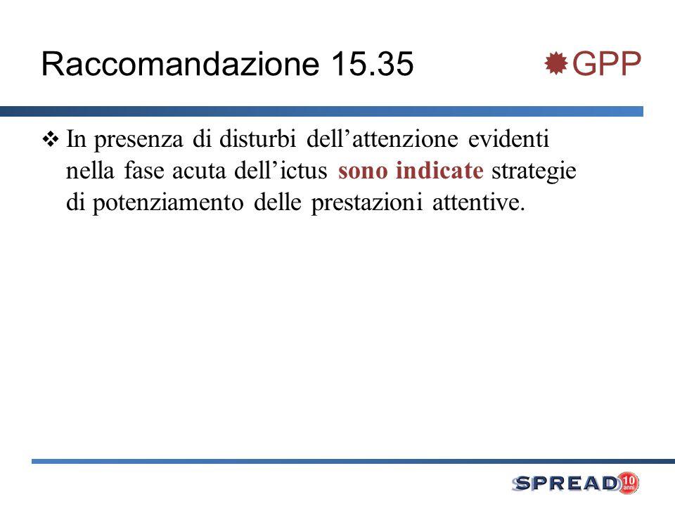 Raccomandazione 15.35 GPP In presenza di disturbi dellattenzione evidenti nella fase acuta dellictus sono indicate strategie di potenziamento delle pr
