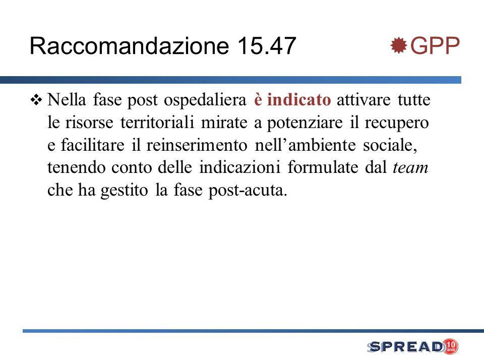Raccomandazione 15.47 GPP Nella fase post ospedaliera è indicato attivare tutte le risorse territoriali mirate a potenziare il recupero e facilitare i