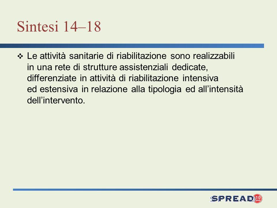 Sintesi 14–18 Le attività sanitarie di riabilitazione sono realizzabili in una rete di strutture assistenziali dedicate, differenziate in attività di