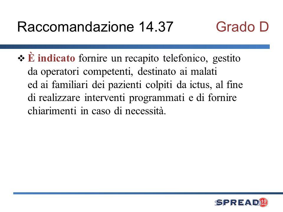Raccomandazione 14.37Grado D È indicato fornire un recapito telefonico, gestito da operatori competenti, destinato ai malati ed ai familiari dei pazie