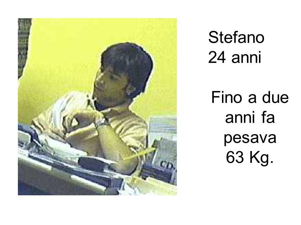 Stefano 24 anni Fino a due anni fa pesava 63 Kg.