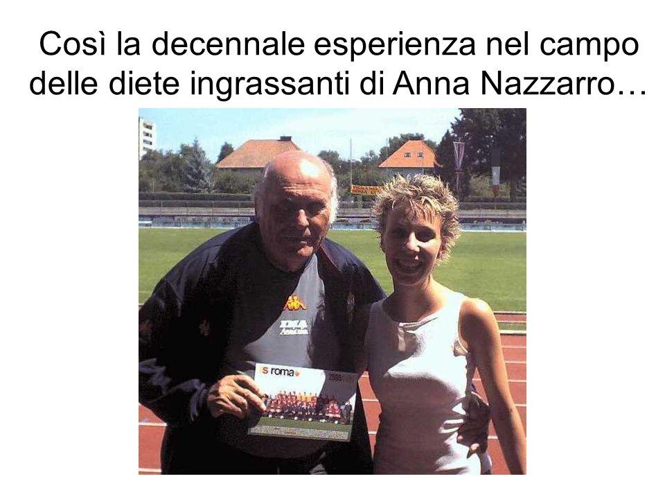 Così la decennale esperienza nel campo delle diete ingrassanti di Anna Nazzarro…