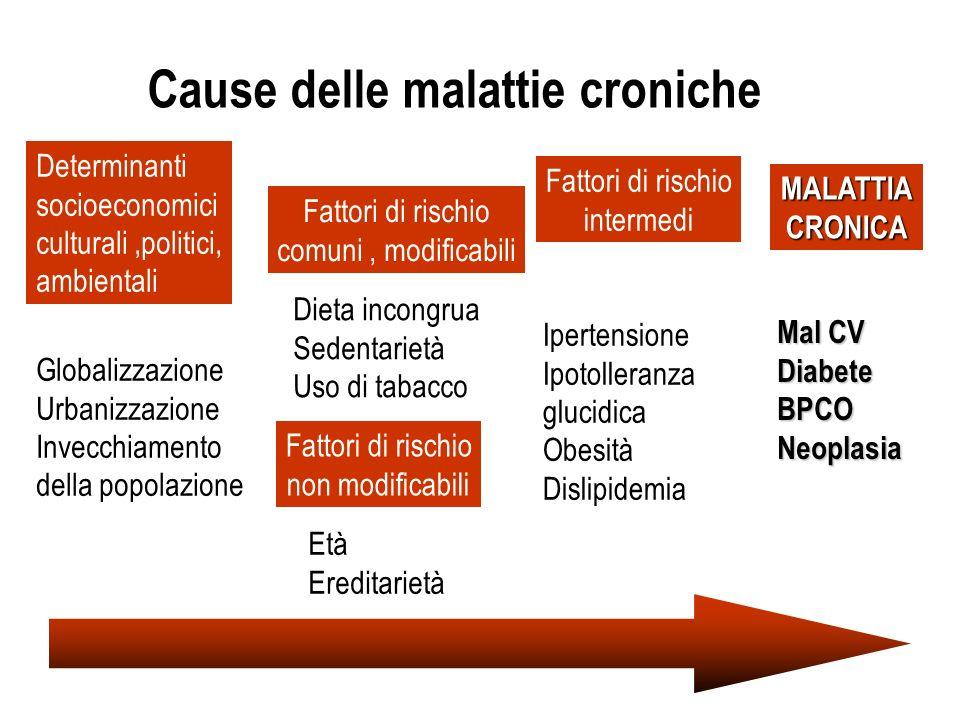 Cause delle malattie croniche Determinanti socioeconomici culturali,politici, ambientali Globalizzazione Urbanizzazione Invecchiamento della popolazio