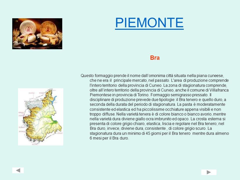 PIEMONTE Bra Questo formaggio prende il nome dallomonima città situata nella piana cuneese, che ne era il principale mercato, nel passato. L'area di p