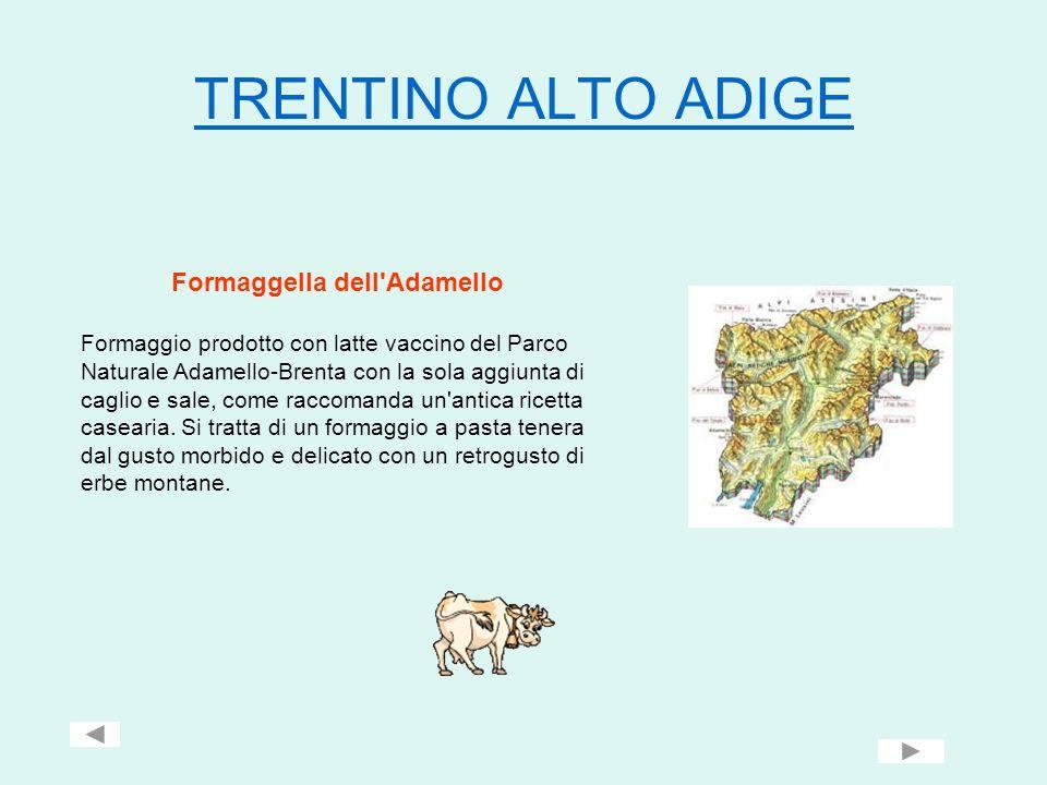 TRENTINO ALTO ADIGE Formaggella dell'Adamello Formaggio prodotto con latte vaccino del Parco Naturale Adamello-Brenta con la sola aggiunta di caglio e