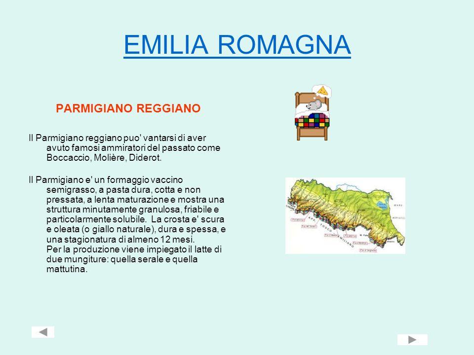 EMILIA ROMAGNA PARMIGIANO REGGIANO Il Parmigiano reggiano puo' vantarsi di aver avuto famosi ammiratori del passato come Boccaccio, Molière, Diderot.