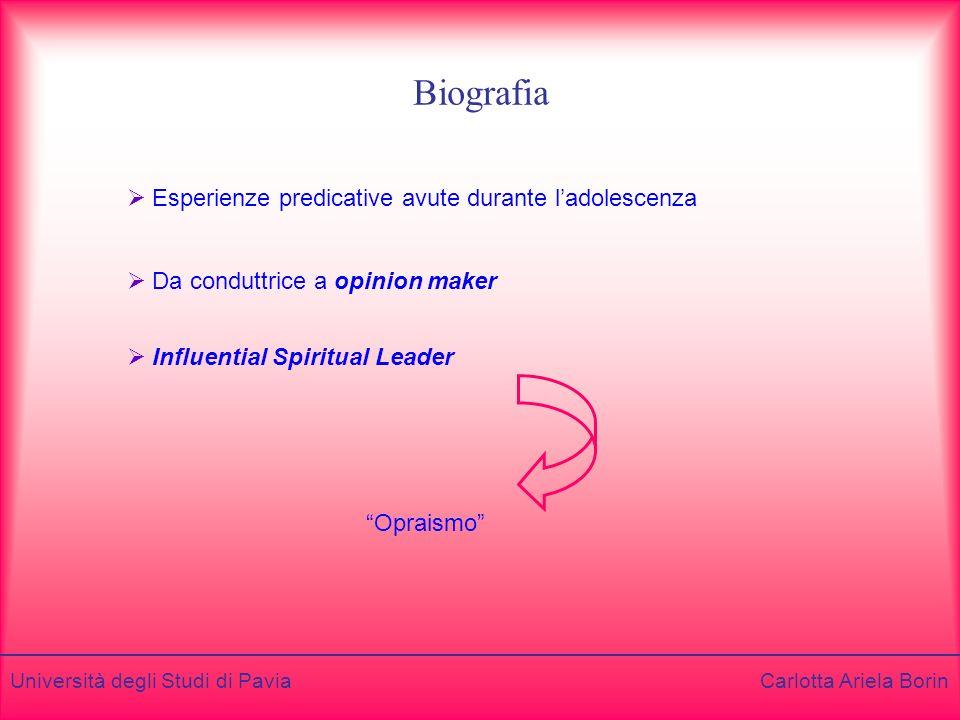 Università degli Studi di Pavia Carlotta Ariela Borin Biografia Da conduttrice a opinion maker Esperienze predicative avute durante ladolescenza Influential Spiritual Leader Opraismo