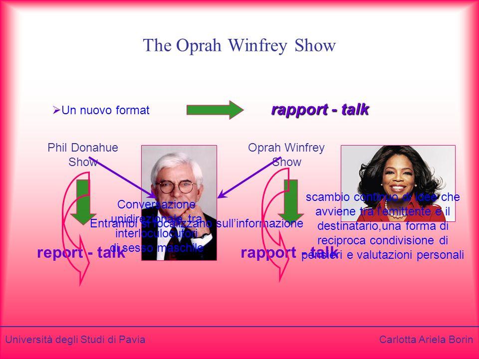 Università degli Studi di Pavia Carlotta Ariela Borin The Oprah Winfrey Show Un nuovo format rapport - talk Phil Donahue Show Oprah Winfrey Show repor
