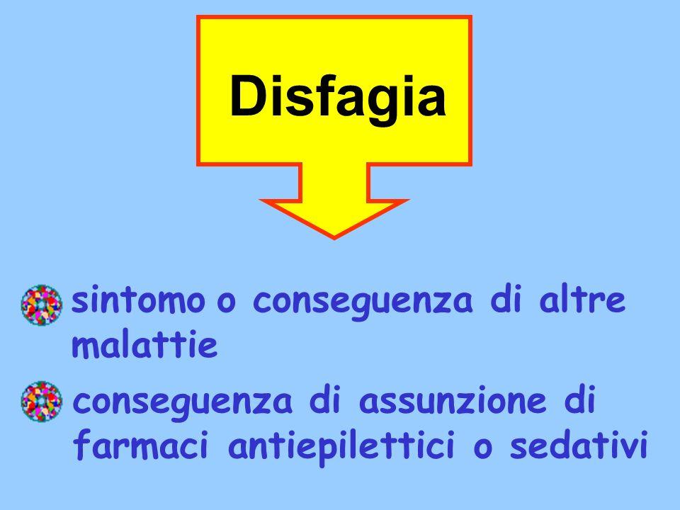 sintomo o conseguenza di altre malattie Disfagia conseguenza di assunzione di farmaci antiepilettici o sedativi