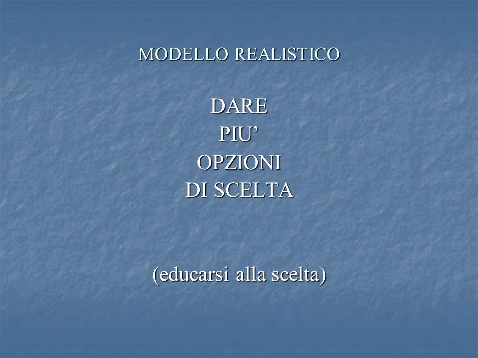 MODELLO REALISTICO DAREPIUOPZIONI DI SCELTA (educarsi alla scelta)