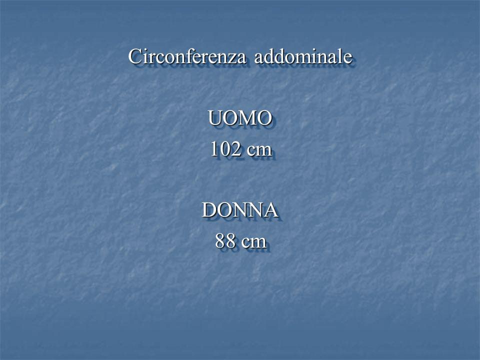 Circonferenza addominale UOMO 102 cm DONNA 88 cm Circonferenza addominale UOMO 102 cm DONNA 88 cm