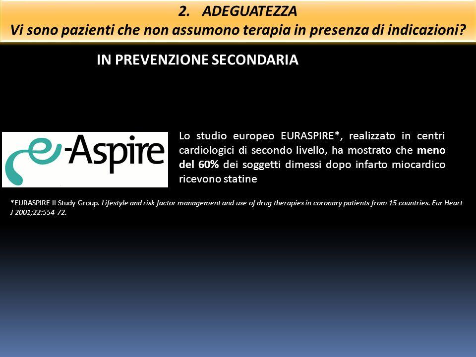IN PREVENZIONE SECONDARIA Lo studio europeo EURASPIRE*, realizzato in centri cardiologici di secondo livello, ha mostrato che meno del 60% dei soggett