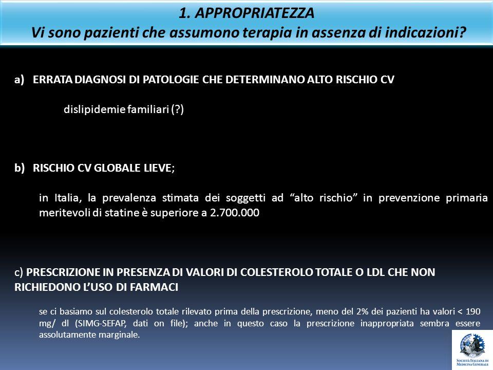 c) PRESCRIZIONE IN PRESENZA DI VALORI DI COLESTEROLO TOTALE O LDL CHE NON RICHIEDONO LUSO DI FARMACI se ci basiamo sul colesterolo totale rilevato pri