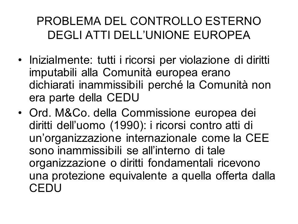 PROBLEMA DEL CONTROLLO ESTERNO DEGLI ATTI DELLUNIONE EUROPEA Inizialmente: tutti i ricorsi per violazione di diritti imputabili alla Comunità europea