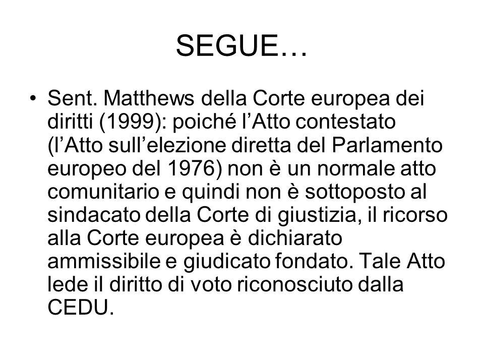 SEGUE… Sent. Matthews della Corte europea dei diritti (1999): poiché lAtto contestato (lAtto sullelezione diretta del Parlamento europeo del 1976) non