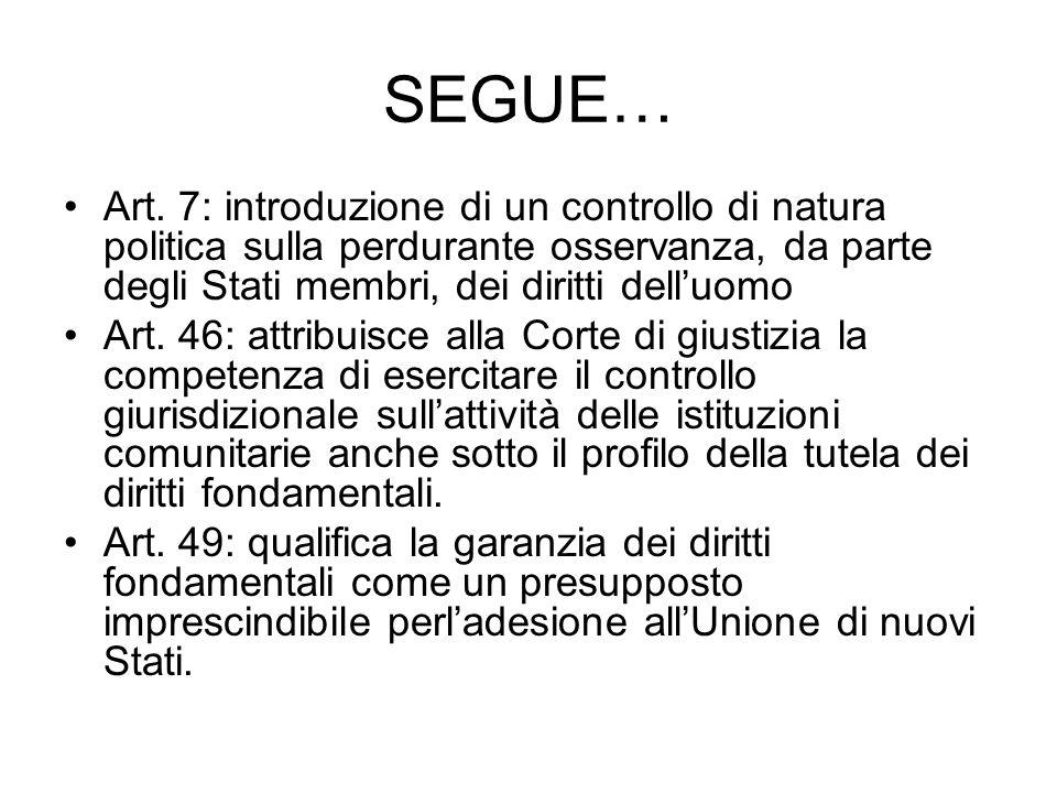 SEGUE… Art. 7: introduzione di un controllo di natura politica sulla perdurante osservanza, da parte degli Stati membri, dei diritti delluomo Art. 46: