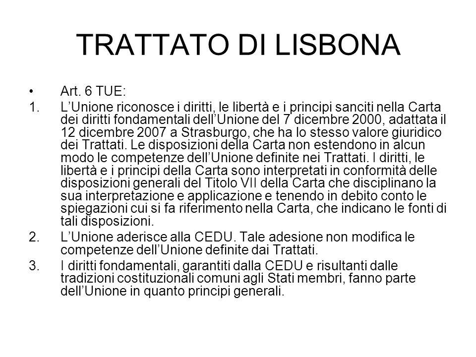 TRATTATO DI LISBONA Art. 6 TUE: 1.LUnione riconosce i diritti, le libertà e i principi sanciti nella Carta dei diritti fondamentali dellUnione del 7 d