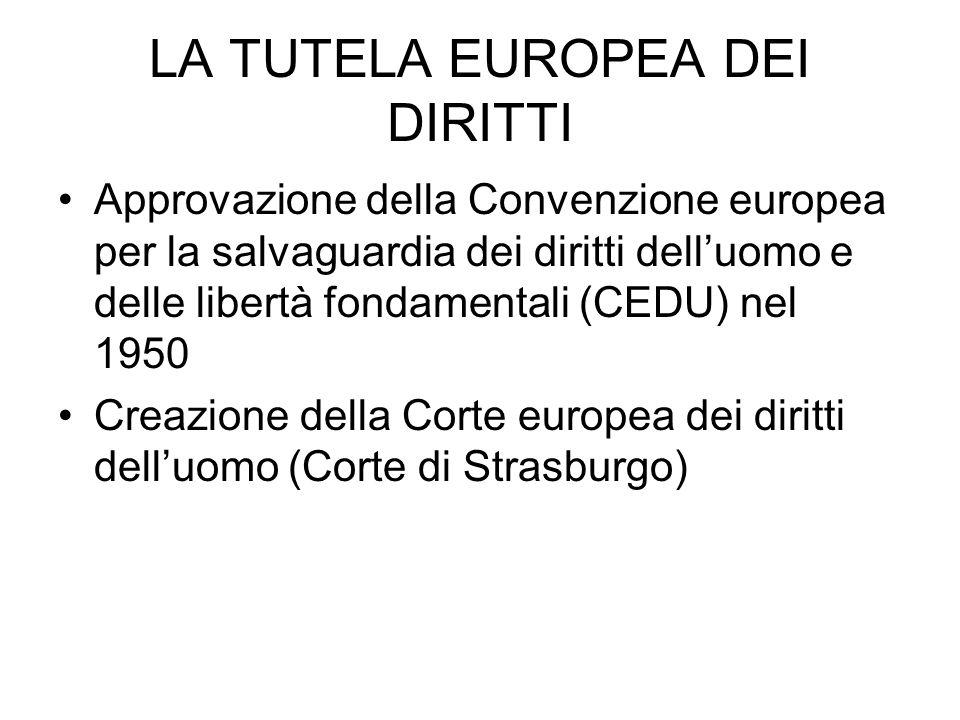 LA TUTELA EUROPEA DEI DIRITTI Approvazione della Convenzione europea per la salvaguardia dei diritti delluomo e delle libertà fondamentali (CEDU) nel