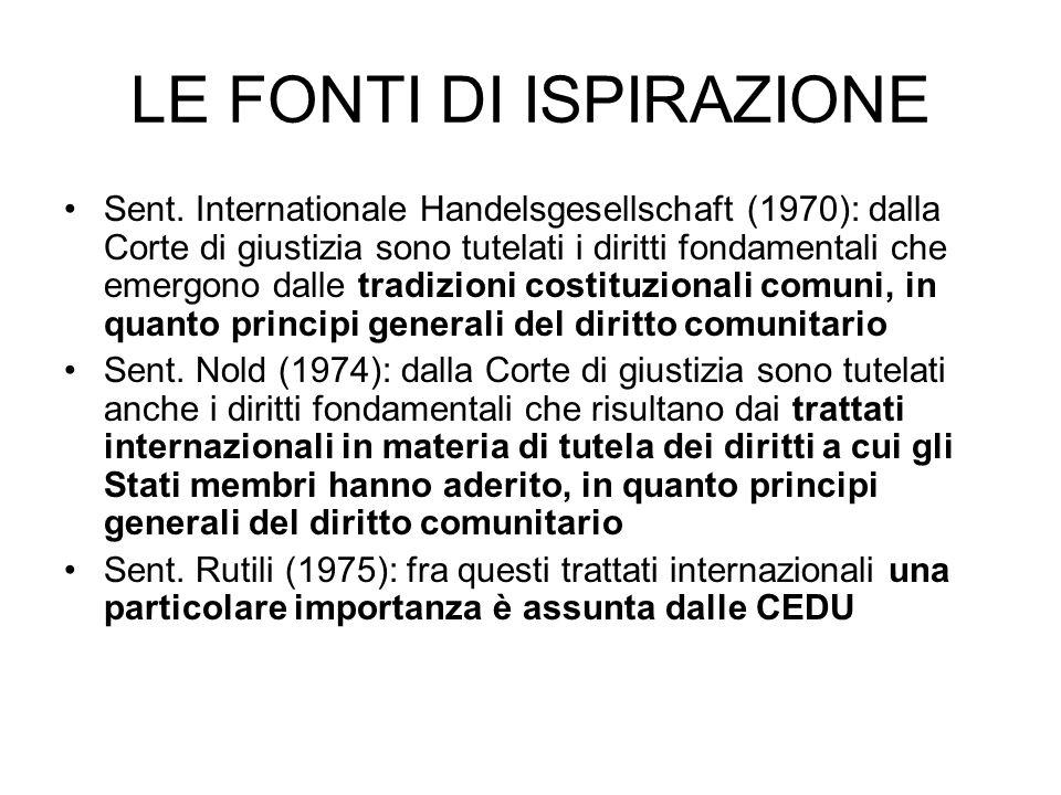 LE FONTI DI ISPIRAZIONE Sent. Internationale Handelsgesellschaft (1970): dalla Corte di giustizia sono tutelati i diritti fondamentali che emergono da