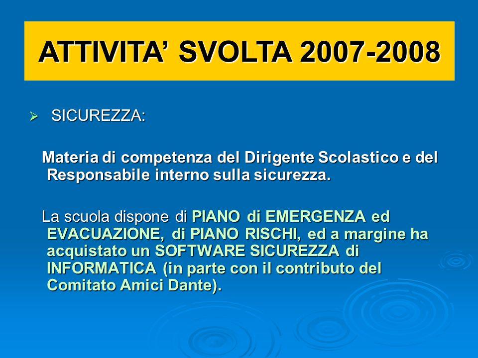 ATTIVITA SVOLTA 2007-2008 SICUREZZA SICUREZZA NORMATIVE NORMATIVE TRASPARENZA TRASPARENZA RELAZIONI ISTITUZIONALI RELAZIONI ISTITUZIONALI Altro Altro