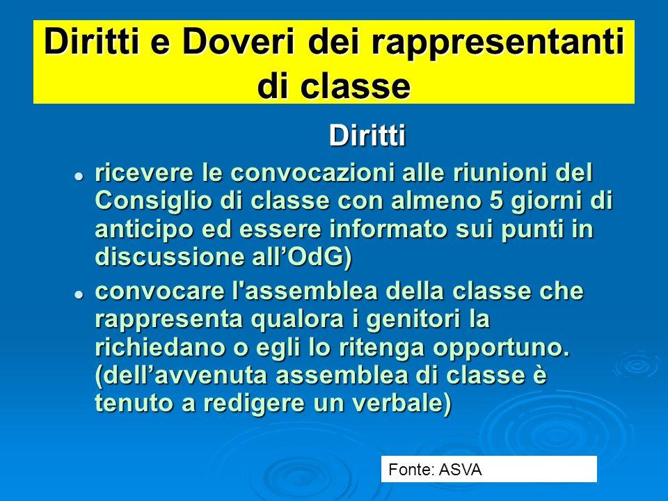 Diritti e Doveri dei rappresentanti di classe Diritti: Diritti: essere informato delle riunioni del Consiglio di Istituto. essere informato delle riun