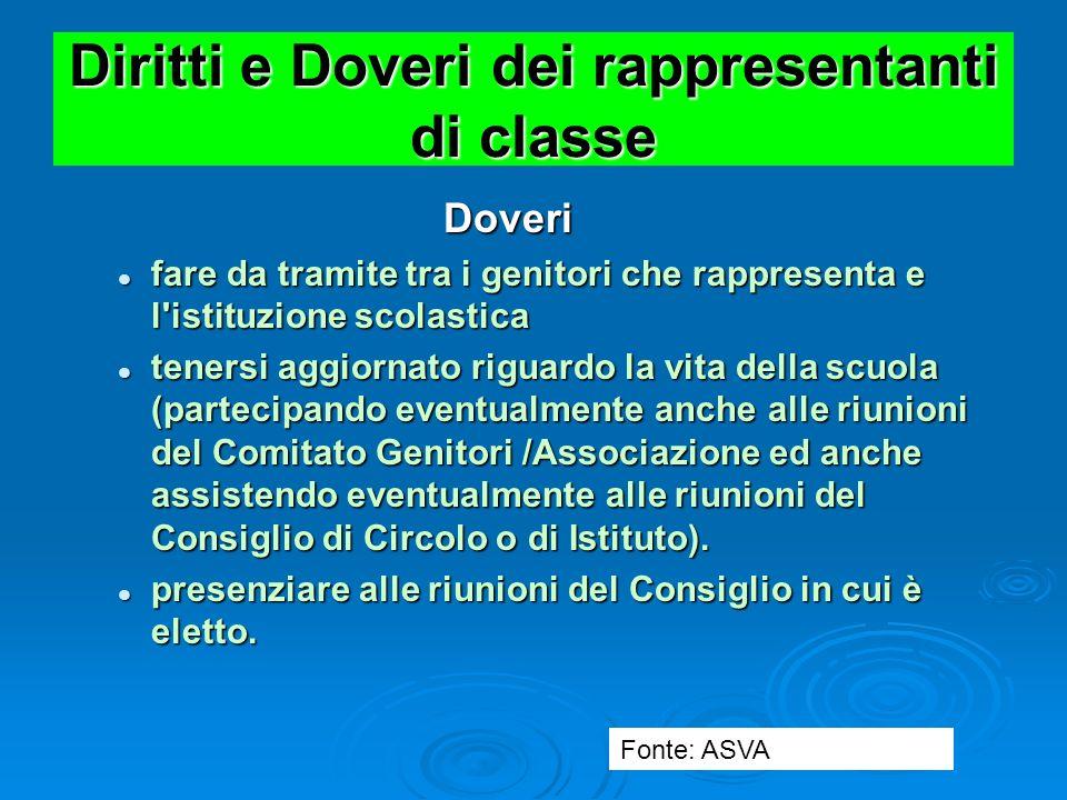 Diritti e Doveri dei rappresentanti di classe Doveri Doveri conoscere le principali norme e regolamenti della scuola (sono pubblicati sul sito, con im