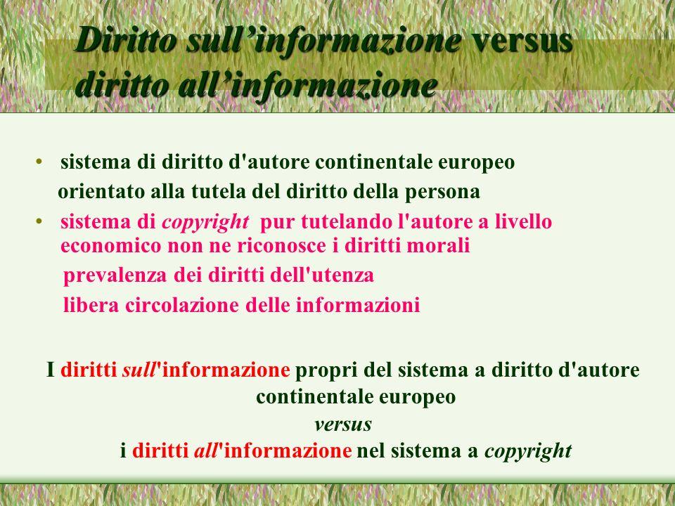 Diritto sullinformazione versus diritto allinformazione sistema di diritto d'autore continentale europeo orientato alla tutela del diritto della perso